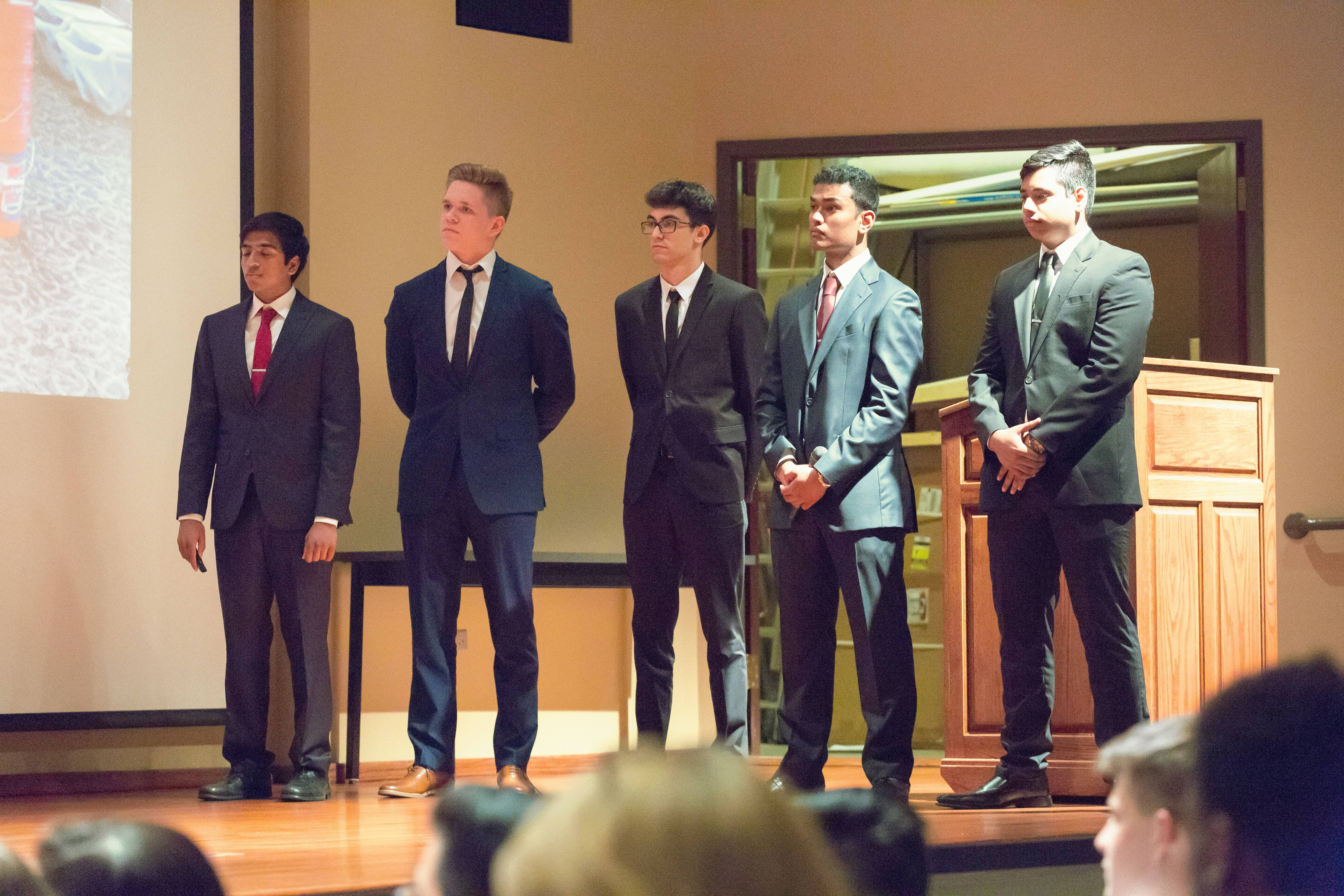 Conant High School students Akash Moozhayil, Kunal Mahajan, Stoil Ionov, Rohan Antony and Patryk Barszczuk won $20,000 in funding for their company, Green Dirt, after a pitch to a business panel last May during the District 211 Business INCubatoredu Pitch Night. The team since has won another $7,500 in funding in a national competition held this summer in Chicago.