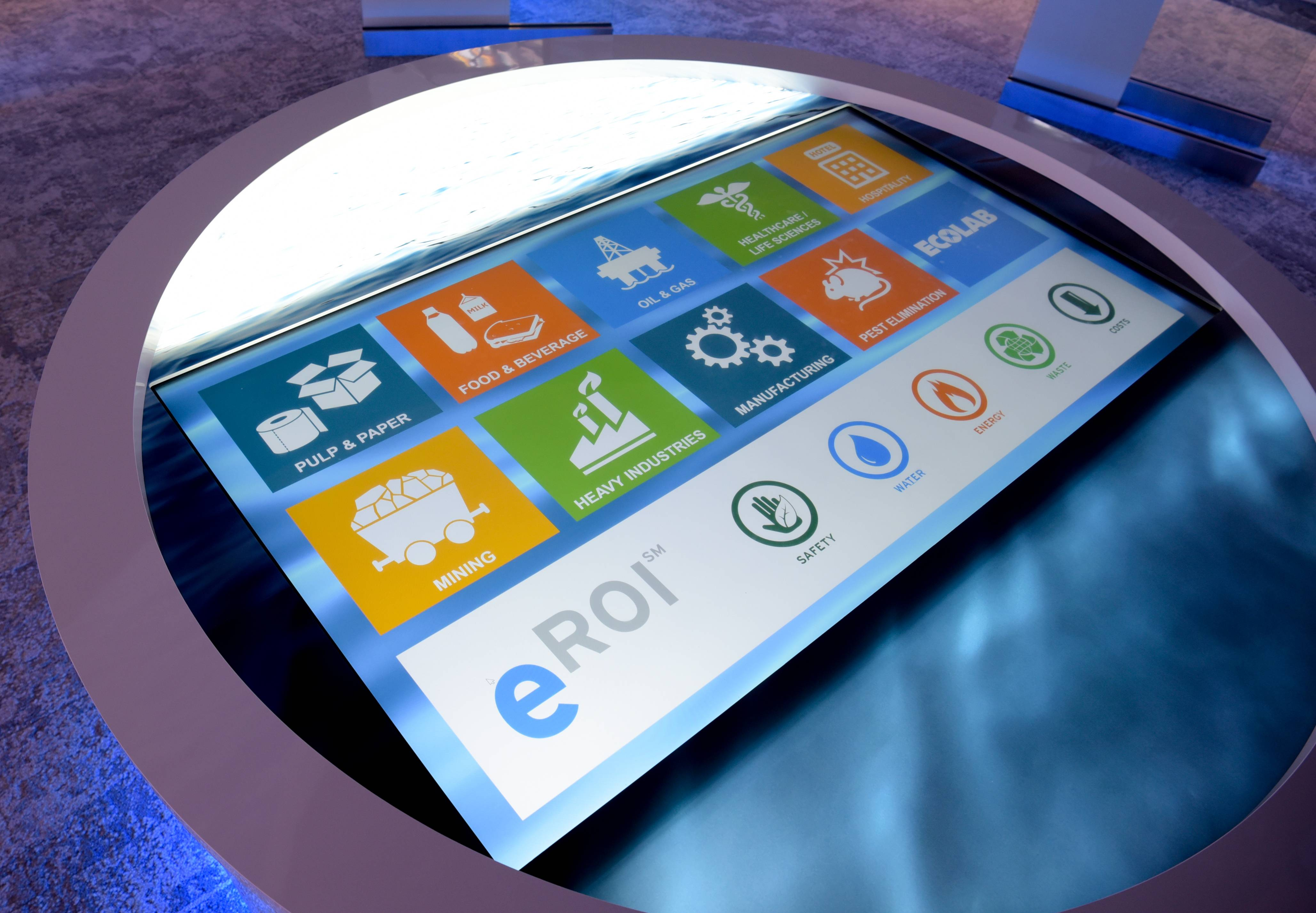 "An interactive ""water table"" is the centerpiece of the customer experience center at Water University, a new training facility that opens Monday on the Nalco Water/Ecolab campus in Naperville."