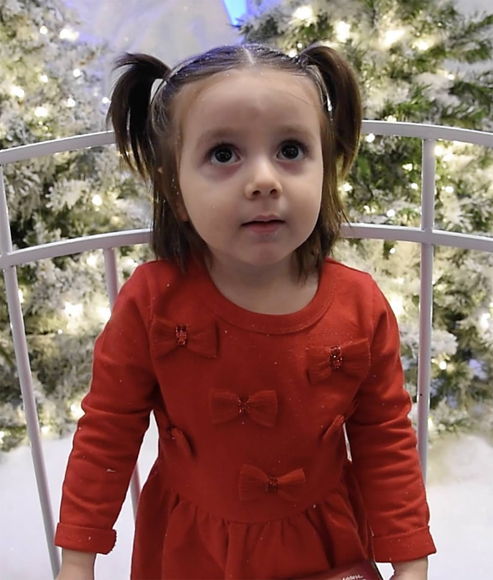 "Zeidy Gonzalez, 3, of Lake in the Hills, simply wants ""a baby"" from Santa, and told him so at the Woodfield Mall in Schaumburg."