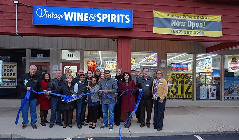 The Barrington Area Chamber of Commerce gathered with the village of Barrington for a ribbon cutting to celebrate the reopening of Vintage Wine & Spirits under new ownership, at 716 S. Northwest Hwy. in Barrington.