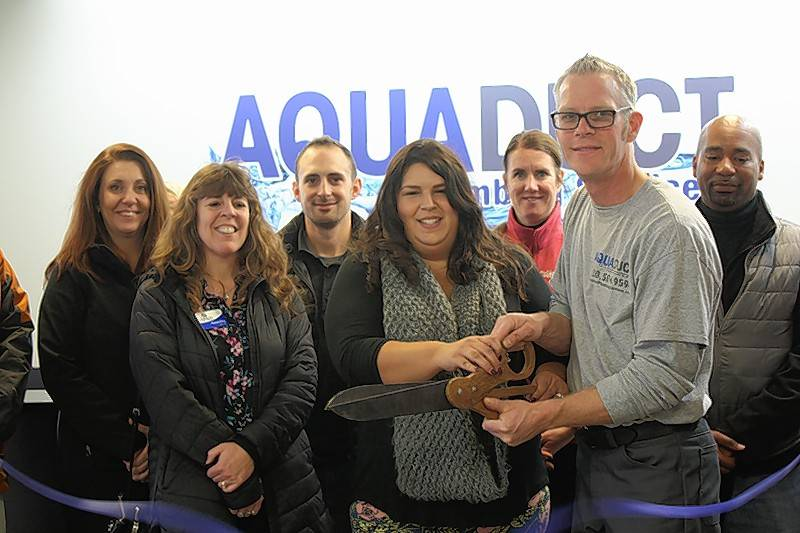The Oswego Chamber of Commerce held a ribbon-cutting ceremony for Aqueduct Plumbing Services, 74 Stone Hill Road, Unit C, Oswego.