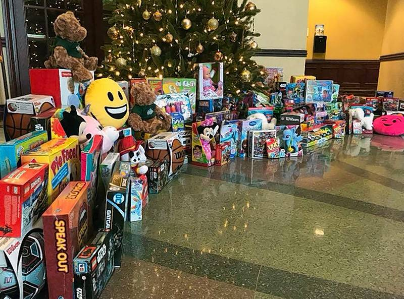 More than 135 toys were collected at the Lenox Chamber of Commerce's annual Jingle & Mingle Holiday Party at Gatto's Italian Restaurant and Bar. It was a record high for the chamber's annual collection.