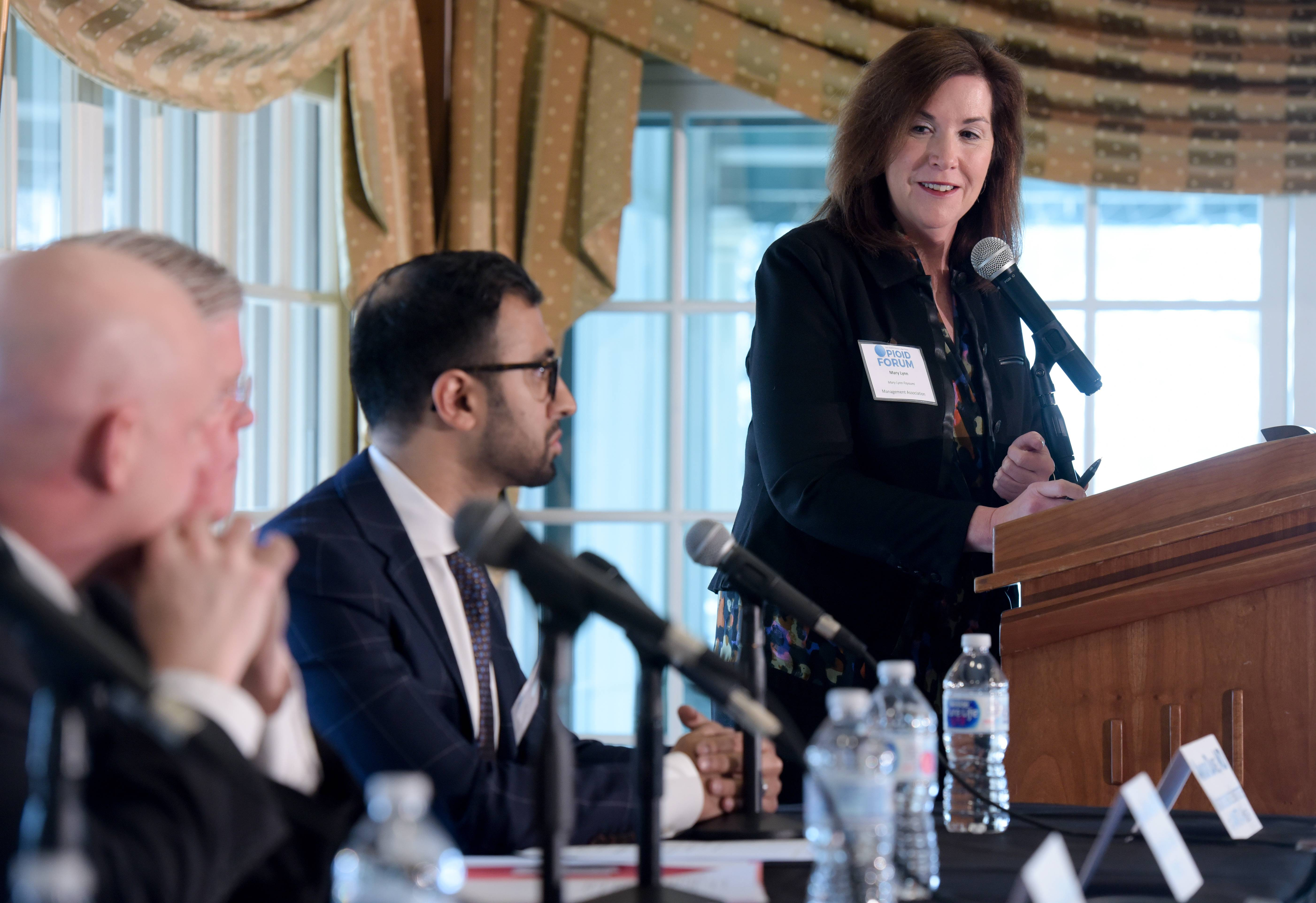 Mary Lynn Fayoumi served as moderator of a forum presented in Oak Brook Thursday by the Daily Herald Business Ledger that addressed opioid abuse and its impact on the workplace.