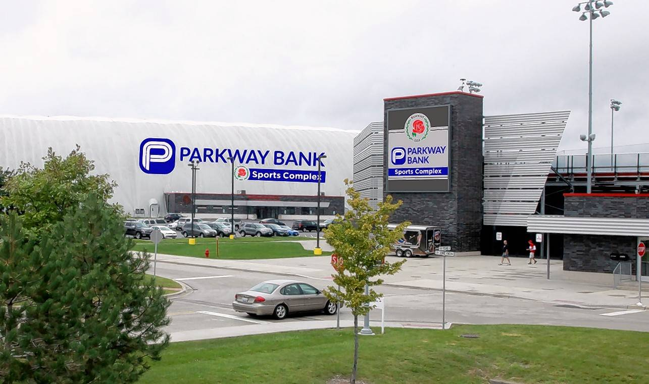 An artist's rendering shows the new advertising of Parkway Bank at Rosemont's indoor sports dome and softball stadium.