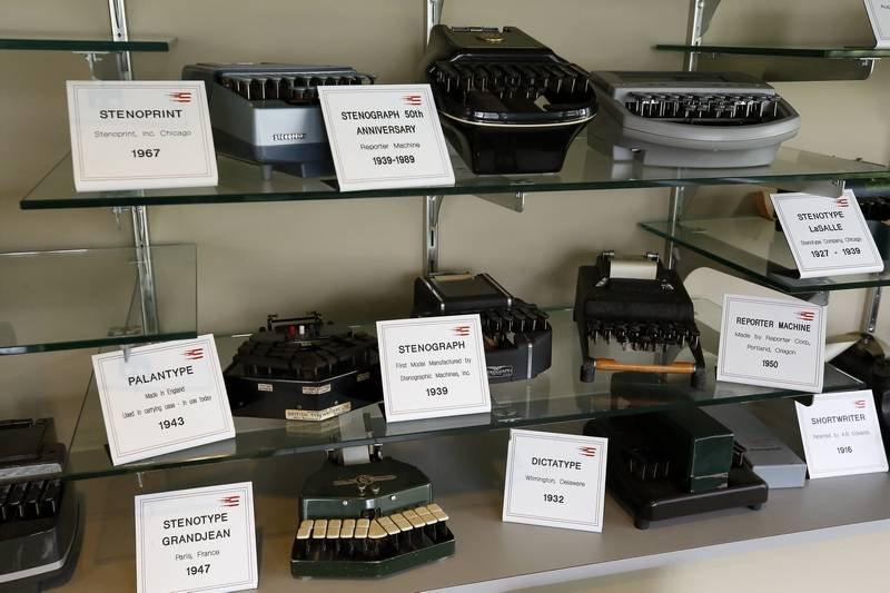 Brian Hill/bhill@dailyherald.comA display of historic machines at Stenograph LLC in Elmhurst.