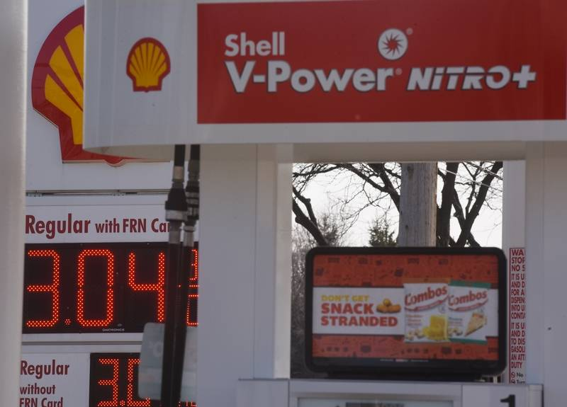 Gasoline is priced at more than $3 a gallon at the Shell station on Central Road near the intersection with Arlington Heights Road in Arlington Heights.