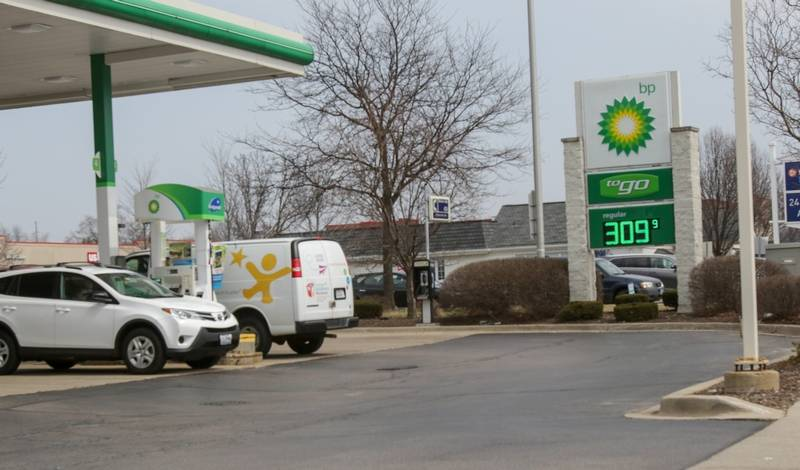 Regular gas was $3.09 per gallon at one Naperville station on Thursday.