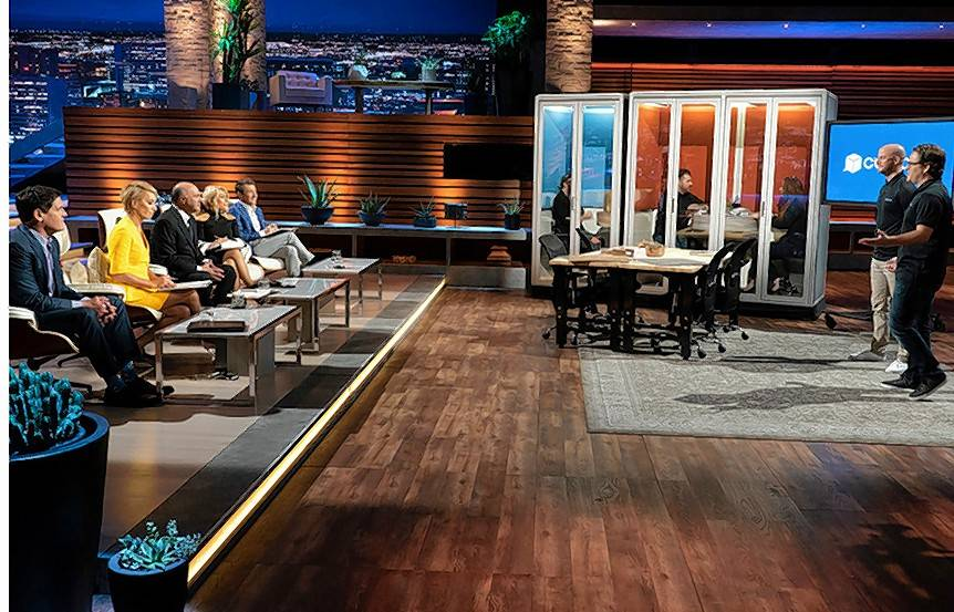"Naperville natives Anthony and Nick Pucci, right, pitch their Cubicall business to the Sharks on the popular ABC show ""Shark Tank."""