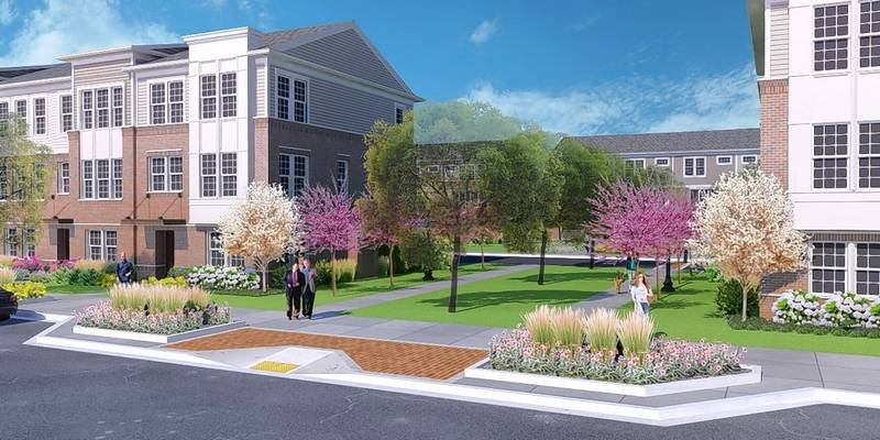 Landscaping and streetscape elements in the proposed Towns at Naperville Crossings subdivision are designed to match what's already built in the rest of the Naperville Crossings shopping, entertainment and apartment complex in south Naperville.