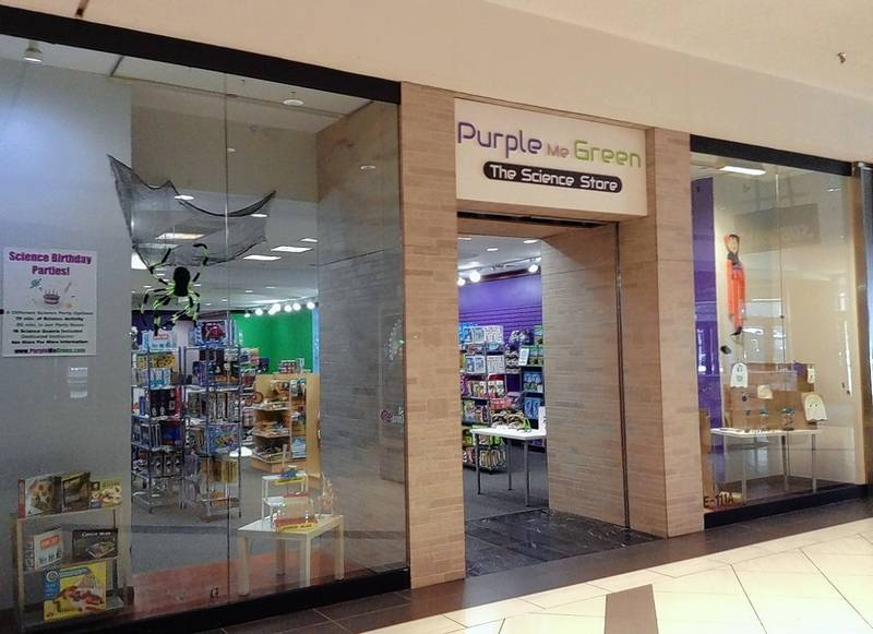 Purple Me Green, The Science Store opened this fall in the J.C. Penney wing of Woodfield Mall in Schaumburg after a few years of operating out of a traveling purple truck and as a temporary pop-up store at The Arboretum shopping center in South Barrington.