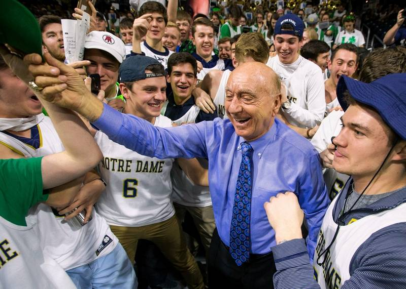 It's been 40 years since the ever popular Dick Vitale (here among his fans at Notre Dame in 2017) called his first game for ESPN at DePaul.