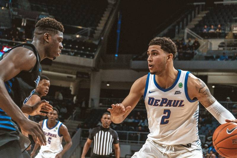 DePaul's Jaylen Butz handles the ball during Sunday's game against Buffalo at Wintrust Arena.