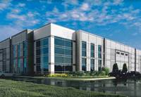 This is a rendering of one of four industrial buildings proposed by California-based Panattoni Development Co. for the Darling Farm in Vernon Hills. Village trustees will get their first look at the plan tonight.