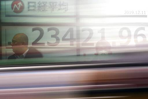 A car passes by people standing near an electronic stock board showing Japan's Nikkei 225 index at a securities firm in Tokyo Wednesday, Dec. 11, 2019.