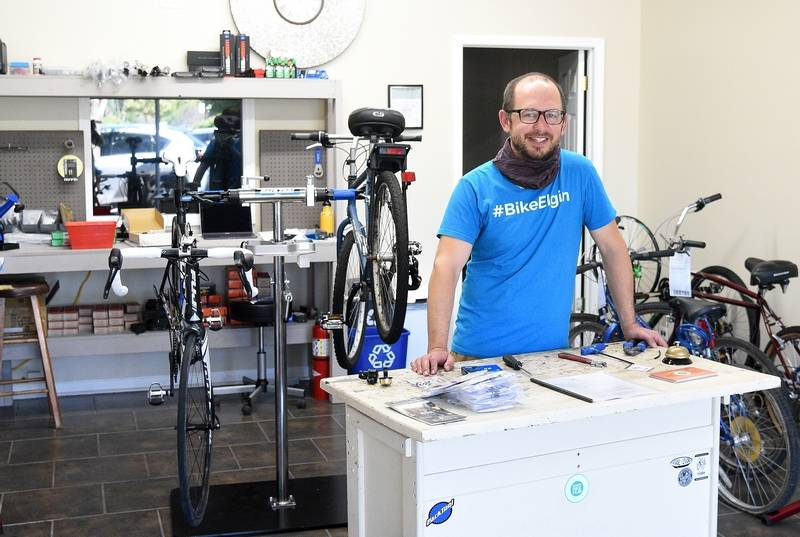 Parker Thompson, a United Bicycle Institute certified mechanic, is the lead organizer of the nonprofit Elgin Bike Hub, which has opened a brick-and-mortar bike shop at 119 S. Grove Ave. in Elgin.