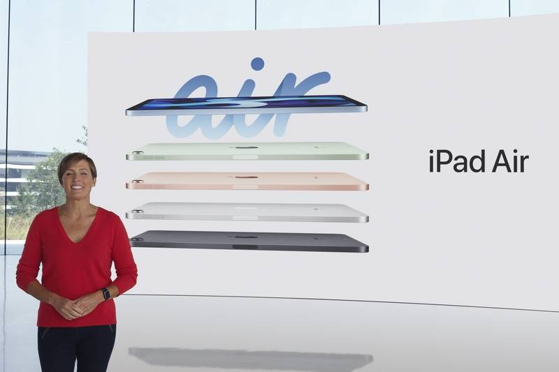 In this still image provided by Apple from the keynote video of a special event at Apple Park in Cupertino, Calif., Laura Legros, Apple's vice president of hardware engineering, unveils the all-new iPad Air on Tuesday, Sept. 15, 2020. Apple took the wraps off a new discount watch in addition to a new high-end model, a next-generation iPad and a couple new subscription services during a virtual event held Tuesday while the company puts the finishing touches on its next lineup of iPhones, its most popular and profitable device. (Apple via AP)