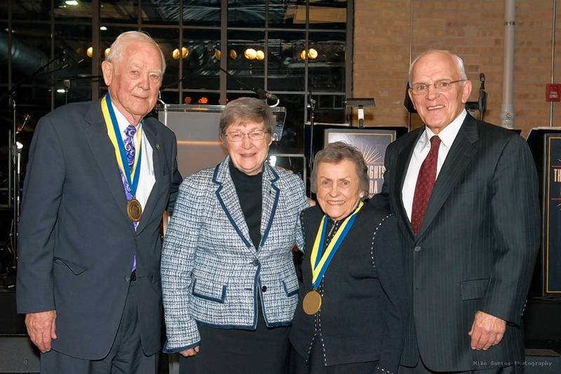 Richard S. Pepper, from left, Sister Catherine M. Ryan, Roxelyn Pepper and Richard Devine are shown in this 2017 photo after the Peppers were honored by Maryville's Center for Children with a Guardian Medallion Award.